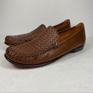 Cole Haan Country Brown Leather Woven Loafer Shoes